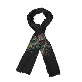 100% Cashmere Wool Jacquard Feather Black Colour Scarf Size 200x70 Cm