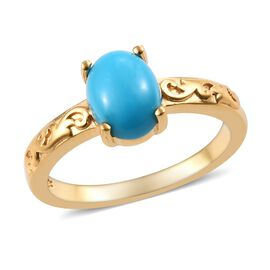 Arizona Sleeping Beauty Turquoise (Ovl) Ring in 14K Gold Overlay Sterling Silver 1.00 Ct.