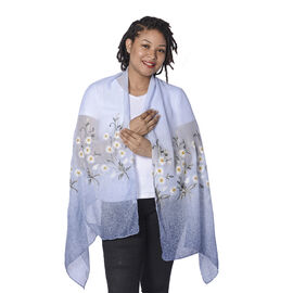 Light Blue and White Floral Embroidery Scarf with Dark Blue Spray Dots (65x180cm)