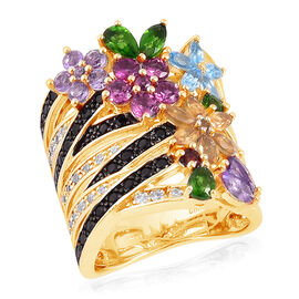 Multi Gem Stone 14K Gold Overlay Sterling Silver Ring  7.739  Ct.