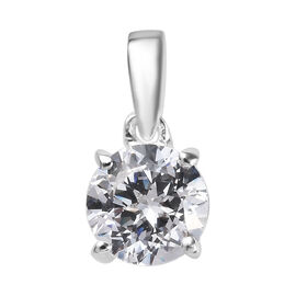 J Francis - Sterling Silver (Rnd) Solitaire Pendant Made with SWAROVSKI ZIRCONIA 1.46 Ct.