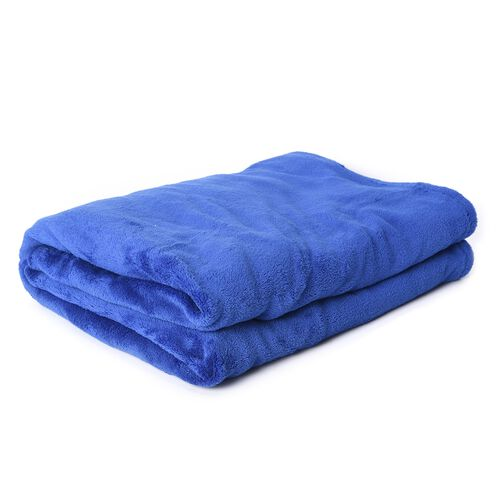 Soft Coral Fleece TV Blanket with Sleeves and Pocket (Size 140x180 Cm) - Blue Colour