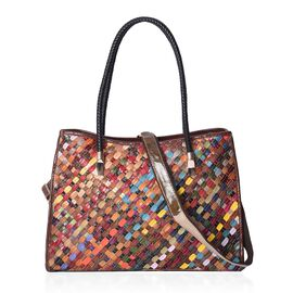 Morocco Collection - 100% Genuine Leather Multicolour Weave Pattern Tote Bag (Size 41x12x27 Cm) with