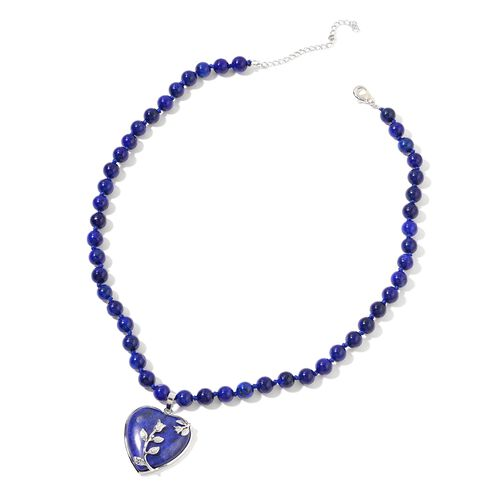 Lapis Lazuli Heart Necklace (Size 20 with 2 inch Extender) in Silver Tone 276.000 Ct.