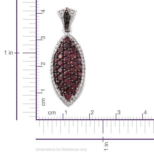Arizona Anthill Garnet (Rnd), Boi Ploi Black Spinel and Natural Cambodian Zircon Pendant in Platinum Overlay Sterling Silver 3.000 Ct.