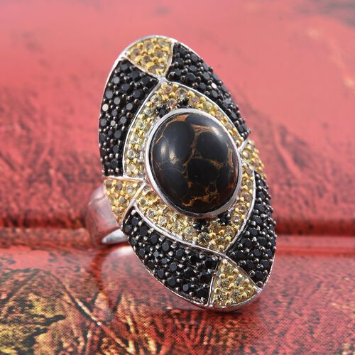 Arizona Mojave Black Turquoise (Ovl 4.60 Ct), Boi Ploi Black Spinel and Yellow Sapphire Ring in Platinum Overlay Sterling Silver 7.250 Ct. Silver wt. 7.86 Gms.