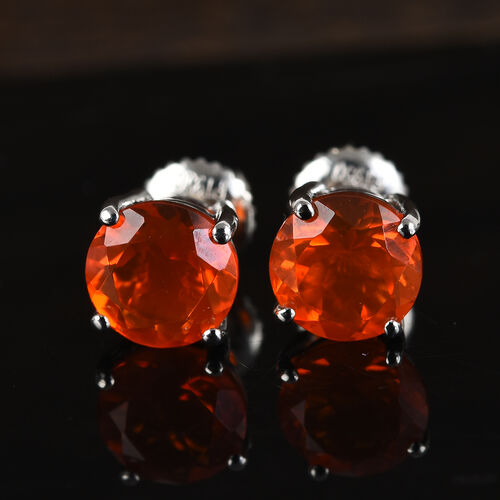 One Time Deal-RHAPSODY 950 Platinum AAAA Jalisco Fire Opal Stud Earrings (with Screw Back) 1.75 Ct.