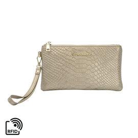 SENCILLEZ 100% Genuine Leather RFID Snake Skin Embossed Clutch Bag with Zipper Closure (Size 19x0.5c