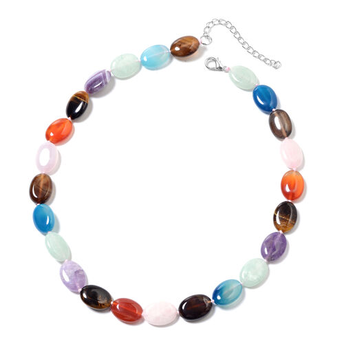 Multi Gemstones Beaded Necklace 18 with 2.5 inch Extender