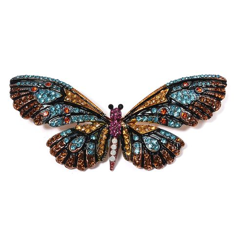 Designer Inspired- Multi Color Austrian Crystal (Rnd) Butterfly Brooch in Yellow Bond