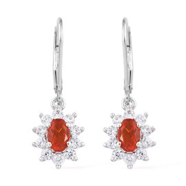 Jalisco Fire Opal (Ovl 7x5 mm), Natural Cambodian Zircon Lever Back Earrings in Platinum Overlay Ste