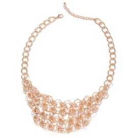 White Austrian Crystal Collar Necklace in Gold Plated 20 Inch