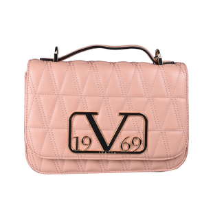 19V69 ITALIA by Alessandro Versace Quilted Pattern Crossbody Bag with Detachable Chain Strap (Size 22x14x8Cm) - Cipria