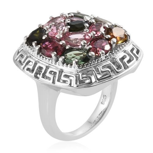 AA Rainbow Tourmaline (Ovl and Pear) Cluster Ring in Platinum Overlay Sterling Silver 4.750 Ct, Silver wt 9.00 Gms