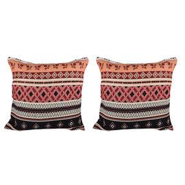 Set of 2 - Turkish Kilim Pattern Cushion Covers - Orange and Multi