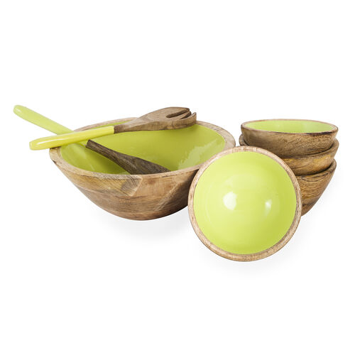 Set of 7 Pcs. - Food Serving Set in Mango Wood with Light Green Enamel Interior - 1 Large Bowl, 4 Small Bowls, Spoon and Fork