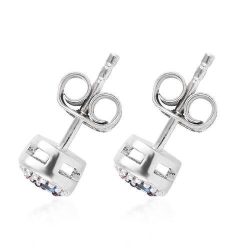 Blue and White Diamond (Bgt) Earrings (with Push Back) in Platinum Overlay Sterling Silver 0.040 Ct.