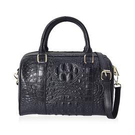 100% Genuine Leather Croc Embossed Tote Bag (Size 27x14x19 Cm) - Black