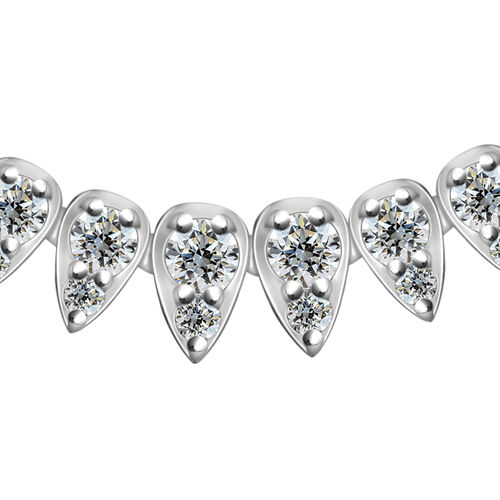 RHAPSODY 950 Platinum IGI Certified Diamond (Rnd) (VS/E-F) Necklace (Size 16.5) 5.00 Ct, Platinum wt 32.59 Gms.