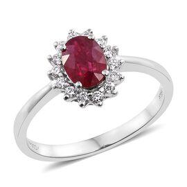RHAPSODY 950 Platinum 1 Carat AAAA Burmese Ruby Halo Ring with Diamond (VS/E-F)