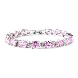 Simulated Pink Sapphire and Simulated White Diamond Tennis Bracelet in Silver Tone 7.5 Inch