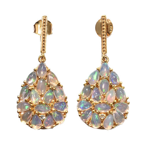 Ethiopian Welo Opal (Ovl and Pear), Natural Cambodian Zircon Earrings (with Push Back) in 14K Gold O