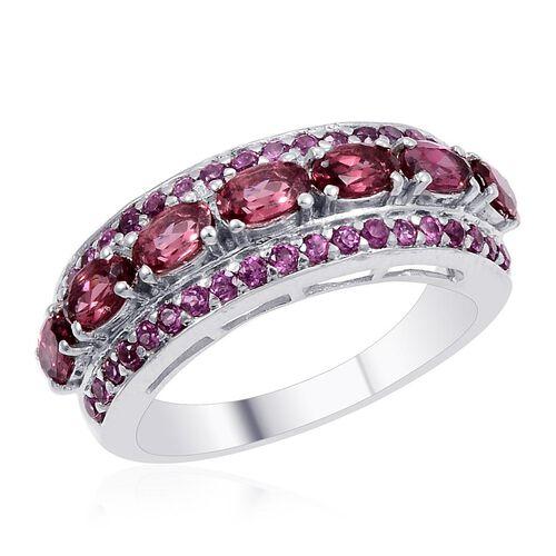 Designer Collection Umba River Zircon (Ovl), Rhodolite Garnet Ring in Platinum Overlay Sterling Silver 4.050 Ct.