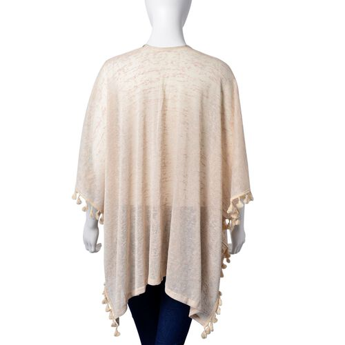 New Season-Multi Colour Rhombus Pattern Off White Colour Poncho with Tassels (Size 80X70 Cm)