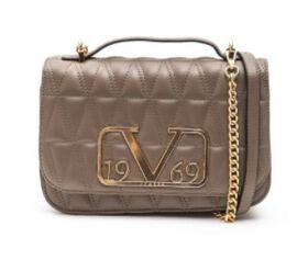 19V69 ITALIA by Alessandro Versace Quilted Pattern Crossbody Bag with Detachable Chain Strap (Size 22x14x8Cm) - Brown