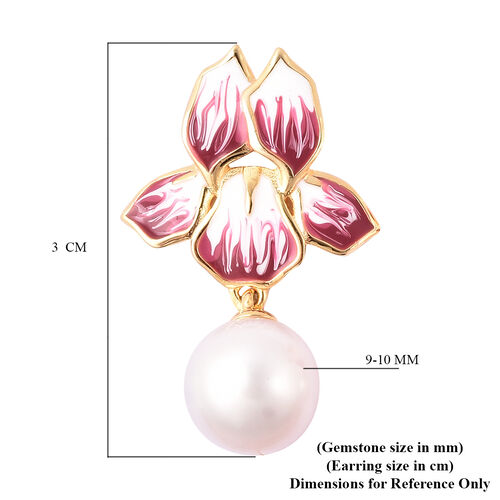 Edison Pearl Enamelled Floral Drop Earrings in Yellow Gold Overlay Sterling Silver