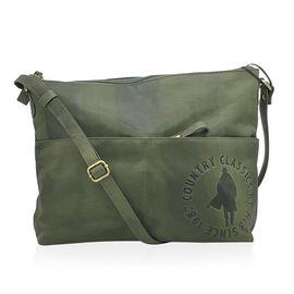 MCS Country Classics: 100% Genuine Leather Handbag - Green