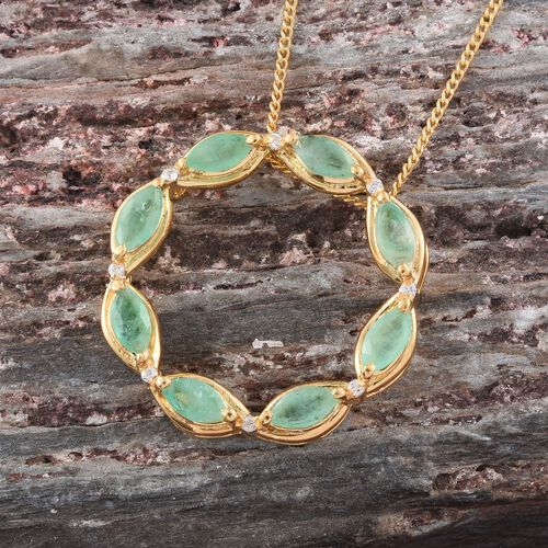 Kagem Zambian Emerald (Mrq), Natural Cambodian Zircon Circle of Life Pendant with Chain in 14K Gold Overlay Sterling Silver 1.040 Ct.