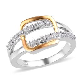 Natural Cambodian Zircon Ring in Platinum and Yellow Gold Overlay Sterling Silver