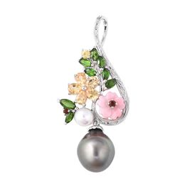 Jardin Collection - Baroque Tahitian Pearl, Pink Mother of Pearl and Multi Gemstone Pendant in Rhodi