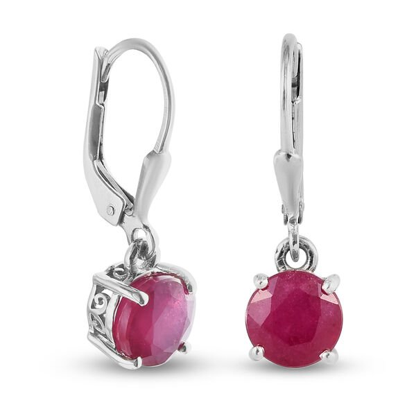 AA African Ruby (FF) Lever Back Earrings in Platinum Overlay Sterling Silver 4.39 Ct.