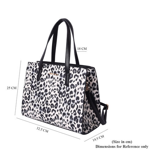 LOCK SOUL Black and White Leopard Pattern Convertible Bag with Shoulder Strap