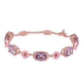 Rose De France Amethyst (Cush), Pink Mother of Pearl and Mozambique Garnet Bracelet (Size 6.5 to 8.25) in Rose Gold Overlay Sterling Silver 16.790 Ct. Silver wt 6.20 Gms.