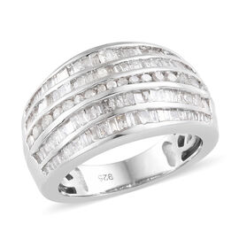 1.50 Carat Diamond 5 Row Ring in Platinum Plated Sterling Silver 5.84 Grams