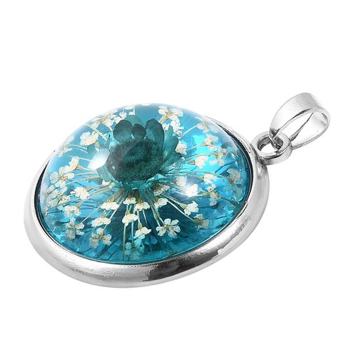 Pressed Blue Dried Flower Pendant in Silver Tone