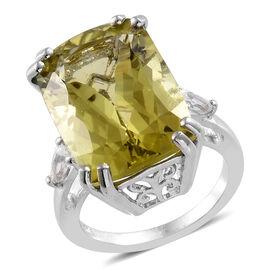 Boca Rica Rare Size Ouro Verde Quartz (Cush 18x13 mm), White Topaz Ring in  Platinum Overlay Sterlin