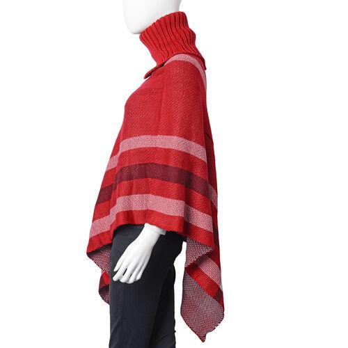 Designer Inspired- Winter Black & Wine Red Colour Roll Neck Checker Pattern Poncho (Size 78x68 Cm)
