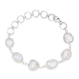 30.98 Ct Rainbow Moonstone Station Bracelet in Sterling Silver 8 Inch with Extender