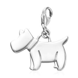Platinum Overlay Sterling Silver Scottish Terrier Dog Charm, Silver wt 3.30 Gms