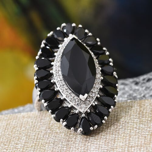 Natural Boi Ploi Black Spinel (Mrq and Pear), Natural Cambodian Zircon Ring in Platinum Overlay Sterling Silver 13.00 Ct, Silver wt 6.20 Gms