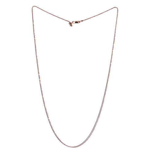 Rose Gold Overlay Sterling Silver Adjustable Diamond Cut Beads Chain (Size 24)