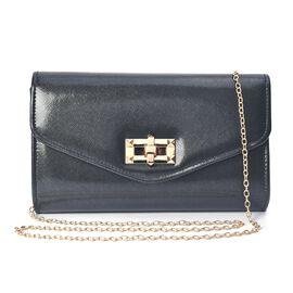 Clutch Bag with Shoulder Chain Strap (Size 23.5x13.5x6 Cm) -  Black
