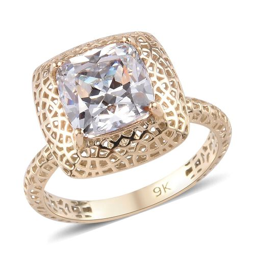 J Francis Made with SWAROVSKI ZIRCONIA Solitaire Ring in 9K Gold