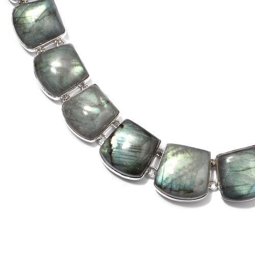 Handmade Labradorite Necklace (Size 20) Sterling Silver 326.88 Ct, Silver wt 34.00 Gms