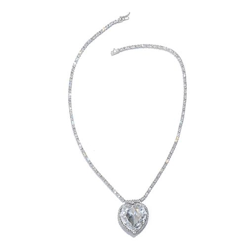 J Francis Crystal from Swarovski - White Crystal (Hrt) Necklace (Size 18) in Platinum Overlay Sterling Silver, Silver wt 22.27 Gms. Number of Crystals 207