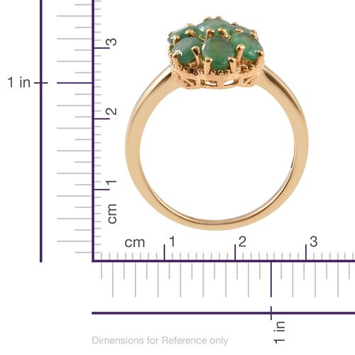 Kagem Zambian Emerald (Ovl) 7 Stone Ring in 14K Gold Overlay Sterling Silver 3.000 Ct.